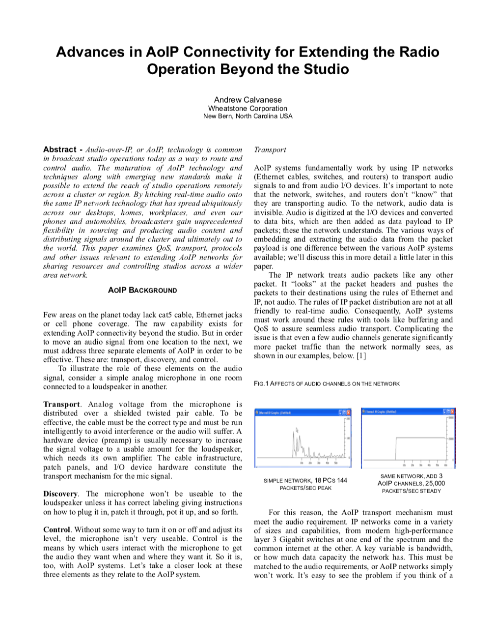Advances in AoIP Connectivity for Extending the Radio Operation Beyond the Studio White Paper